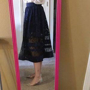 Alice+Olivia indigo black lace dress